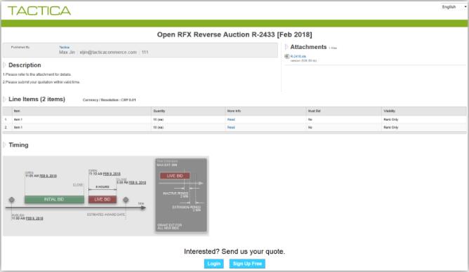 Tactica - eSourcing, eTender, eRFQ, reverse auction solution